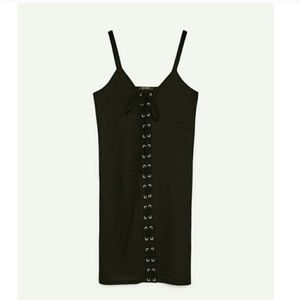 Zara Dresses - Zara Ribbed Knit Corset Tie Up Front Strappy LBD